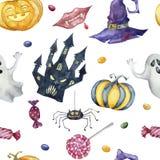 Naadloos patroon met Halloween-karakters op witte achtergrond royalty-vrije illustratie
