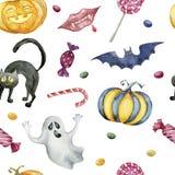 Naadloos patroon met Halloween-karakters op witte achtergrond stock illustratie