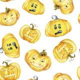 Naadloos patroon met Halloween-pompoenen op witte achtergrond stock fotografie