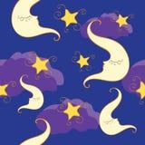 Naadloos patroon met halve maan en ster Stock Afbeelding