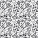 Naadloos patroon met hand getrokken cactus vector illustratie