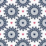Naadloos patroon met hand getrokken cirkels en harten Overladen bloemen eindeloze Hipster-achtergrond Kan voor behang, patroon wo Stock Afbeelding