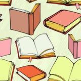 Naadloos patroon met hand getrokken decoratieve boeken Stock Foto's