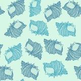 Naadloos patroon met hand getrokken die zeeschelpen met abstracte sierkrabbels worden verfraaid Royalty-vrije Stock Afbeeldingen
