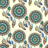 Naadloos patroon met hand getrokken dreamcatchers stock illustratie