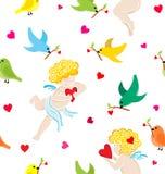 Naadloos patroon met hand getrokken engelen met hart royalty-vrije illustratie
