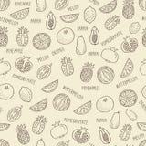 Naadloos patroon met hand getrokken exotisch fruit op beige backgroun Royalty-vrije Stock Foto