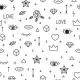 Naadloos patroon met hand getrokken geometrische elementen Abstracte trendy achtergrond De stijl van Memphis Moderne Schets stock illustratie