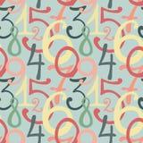 Naadloos patroon met hand getrokken geschilderde aantallen Royalty-vrije Stock Afbeelding