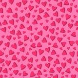 Naadloos patroon met hand getrokken harten op lichtrose achtergrond vector illustratie