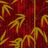 Naadloos patroon met hand getrokken Japans stijlbamboe op een rode achtergrond met hiërogliefen Stock Foto