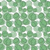 Naadloos patroon met hand getrokken kool op witte achtergrond royalty-vrije illustratie