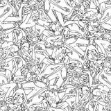 Naadloos patroon met hand getrokken mensen Stock Foto