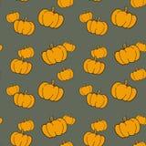 Naadloos patroon met hand getrokken pompoenen stock illustratie