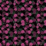Naadloos patroon met hand getrokken roze bieten op zwarte achtergrond royalty-vrije illustratie