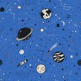 Naadloos patroon met hand getrokken ruimteelementen royalty-vrije illustratie