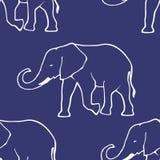 Naadloos patroon met hand getrokken silhouetelepha Royalty-vrije Stock Fotografie
