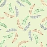Naadloos patroon met hand getrokken veren Stock Afbeelding