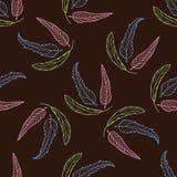 Naadloos patroon met hand getrokken veren op bruine achtergrond Stock Foto's