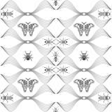 Naadloos patroon met hand getrokken vlinders Entomologische inzameling van hoogst gedetailleerde hand getrokken vlinders retro royalty-vrije illustratie