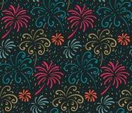 Naadloos patroon met hand getrokken vuurwerk Kleurrijke vakantie vector eindeloze achtergrond stock illustratie