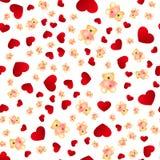 Naadloos patroon met harten en beren Stock Afbeelding