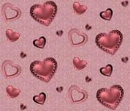 Naadloos patroon met harten en ornament op een roze en rode achtergrond met bloemen Romantische valentijnskaarten Stock Afbeelding
