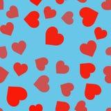 Naadloos patroon met harten op blauw BG vector illustratie