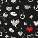 Naadloos patroon met harten St Valentine het Element van het Dagontwerp Royalty-vrije Stock Afbeeldingen
