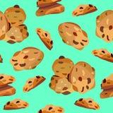 Naadloos patroon met havermeelkoekjes stock illustratie