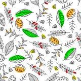 Naadloos patroon met heldere bladeren - vectorillustratie, eps stock illustratie