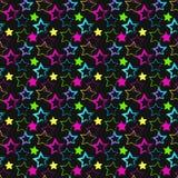 Naadloos patroon met heldere multi-colored sterren op zwarte achtergrond Stock Foto