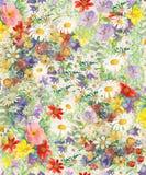 Naadloos patroon met heldere multicolored decoratieve bloemen en bladeren op een vihteachtergrond royalty-vrije illustratie
