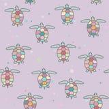 Naadloos patroon met heldere zeeschildpadden Vector illustratie Royalty-vrije Stock Afbeeldingen