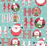Naadloos patroon met herten, sneeuwmanpinguïn en het hoofd van de Kerstman ho ho ho, royalty-vrije illustratie