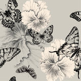Naadloos patroon met het bloeien pansies en butterf Royalty-vrije Stock Fotografie