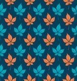Naadloos patroon met het gebladerte van de herfstparthenocissus Vector illustratie Stock Foto's