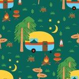 Naadloos patroon met het kamperen aanhangwagen in de nacht - vectorillustratie, eps vector illustratie