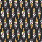 Naadloos patroon met het leuke roomijs van de krabbelkat Royalty-vrije Stock Foto
