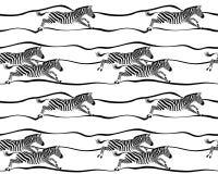 Naadloos patroon met het lopen zebras op witte achtergrond Royalty-vrije Stock Afbeelding
