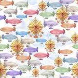 Naadloos patroon met het luchtschip op een blauwe wolkenachtergrond stock fotografie