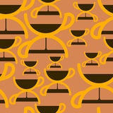 Naadloos patroon met het symbool van de koffietijd Stock Foto