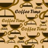 Naadloos patroon met het symbool van de koffietijd Royalty-vrije Stock Afbeelding