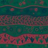 Naadloos patroon met het trekken van originele groen Royalty-vrije Stock Afbeeldingen