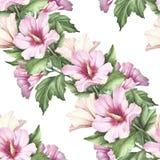 Naadloos patroon met hibiscus De hand trekt waterverfillustratie Stock Foto's
