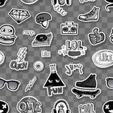 Naadloos patroon met Hipsters-tienerjarenkrabbels vector illustratie