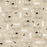 Naadloos patroon met hond Stock Afbeelding