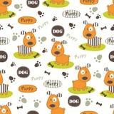 Naadloos patroon met honden Stock Afbeelding