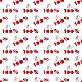 Naadloos patroon met honderd percentenkersen in vlakke stijl royalty-vrije illustratie