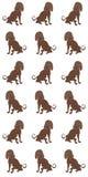 Naadloos patroon met hondsilhouetten op viooltje Stock Foto